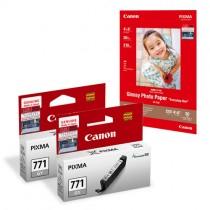 CLI-771GY 灰色墨水盒 (標準裝) X2 送GP-508 光面相片紙 4R (20 張)