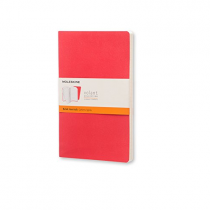 Moleskine Volant 記事本軟面橫間大型筆記本, 深紅色/淺紅色 (一套兩本)