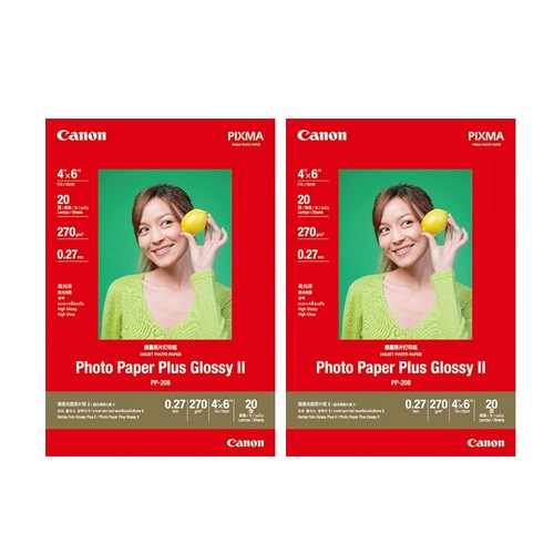 "PP-208 Photo Paper Plus Glossy II 4""x6"" (20 sheets) x2"