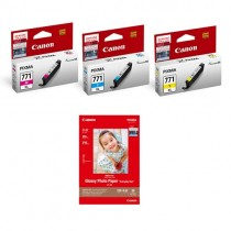 "[Online Pack] CLI-771XL Color Ink Tank FREE GP-508 Glossy Photo Paper 4""x6"" (20 sheets)"