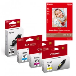 [Online Set] PGI-750XL + CLI-751XL Ink with GP-508 Media Pack